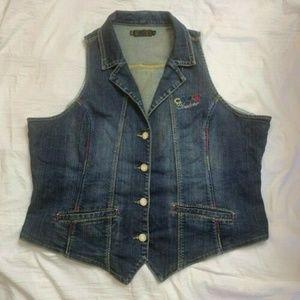 Women's Coogi Couture Bling Blue Jean Vest Size 3X